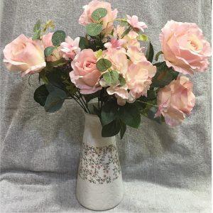 Buchet flori artificiale roz Candice vintage