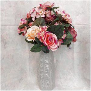 Buchet hortensii & trandafiri roz Joelle 45cm