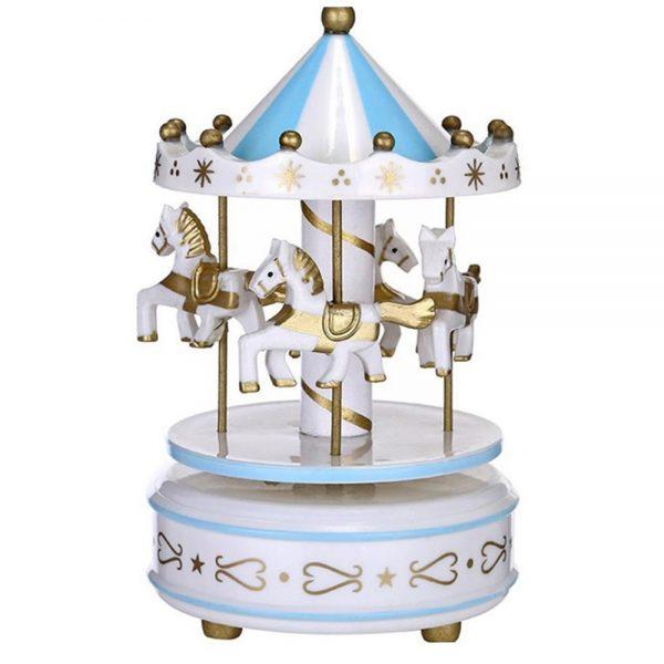 Carusel muzical alb bleu rotativ Carousel