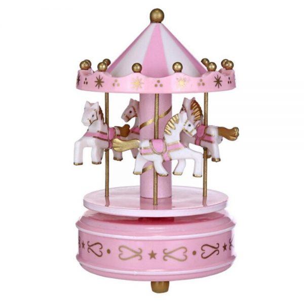 Carusel muzical roz alb rotativ Carousel