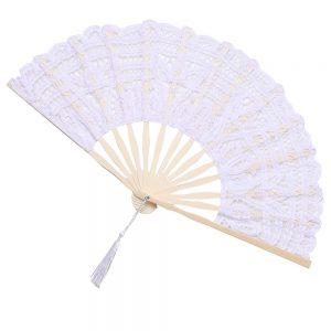 Evantai dantela Lorelei alb, Vintage, Maner bambus