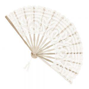 Evantai dantela Lorelei alb maner bambus