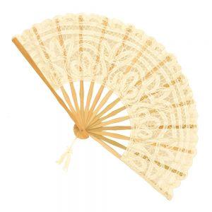 Evantai dantela Lorelei crem maner bambus