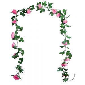 Ghirlanda trandafiri artificiali Pink Rosalinda
