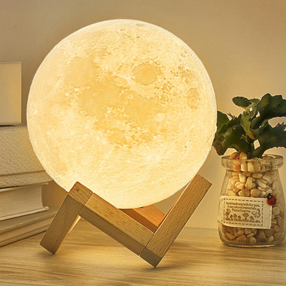 Lampa luna 3D Moonlight Touch alba