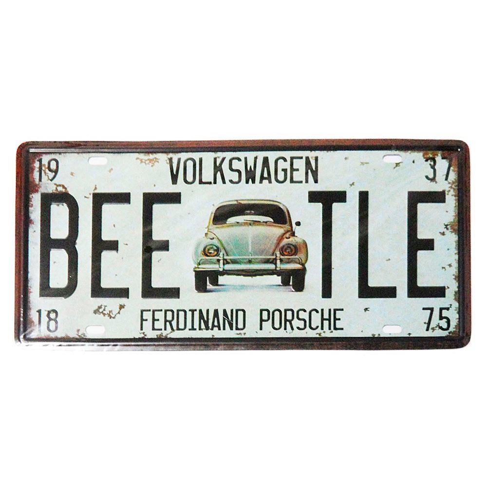 Placa metal vintage Beetle numar auto