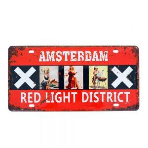 Placa metalica Amsterdam numar auto vintage