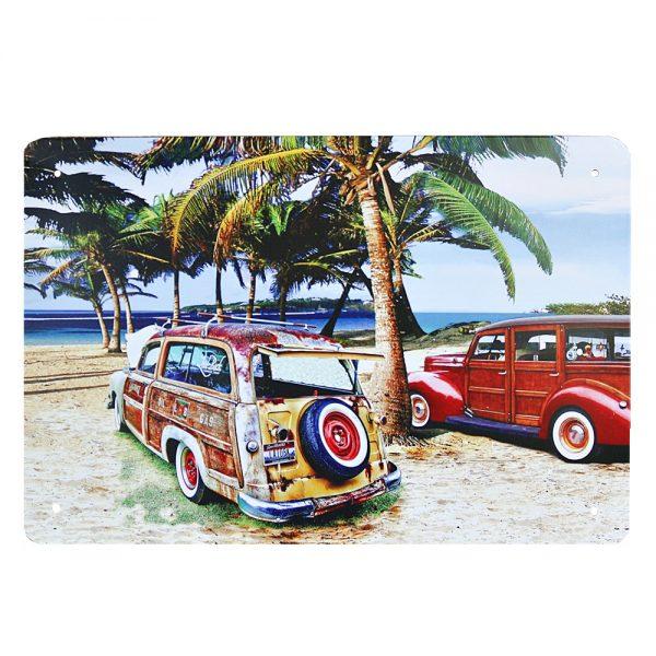 Placa metalica Beach Palm Trees poster