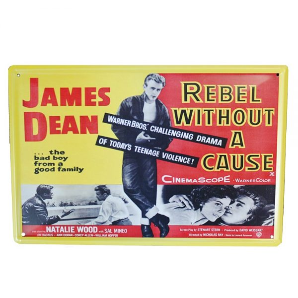 Placa metalica James Dean poster vintage