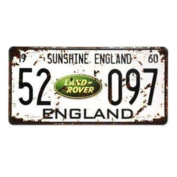 Placa metalica Land Rover numar auto vintage