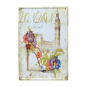 Placa metalica London Mood poster vintage