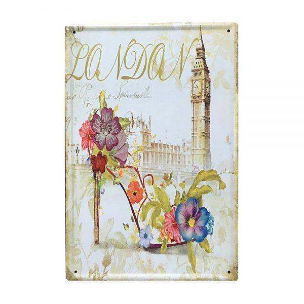 Placa metalica London Mood poster vintage