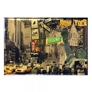 Placa metalica New York poster vintage