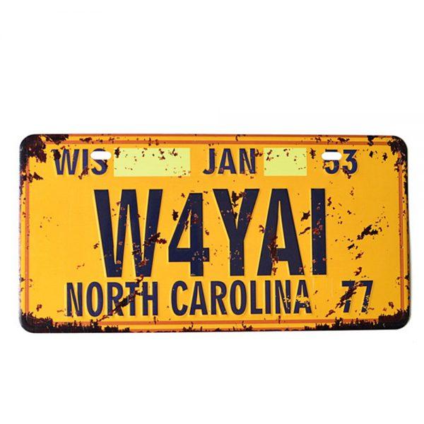 Placa metalica North Carolina numar auto