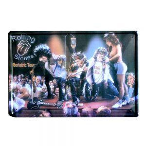Placa metalica Rolling Stones caricatura vintage