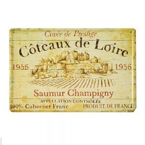 Placa metalica Saumur Champigny poster vintage