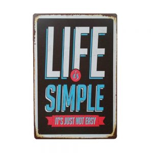 Placa metalica Simple Life poster vintage