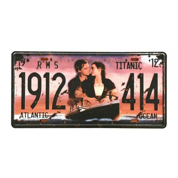 Placa metalica Titanic 1914 poster vintage