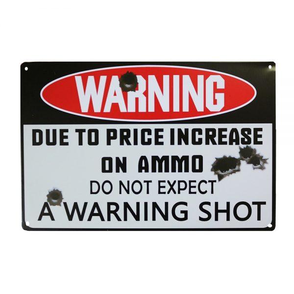 Placa metalica Warning poster vintage