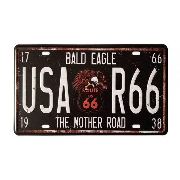 Placa metalica vintage Route 66 numar auto