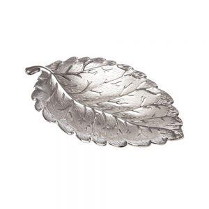 Platou frunza metal Silver Abigail 16x9cm