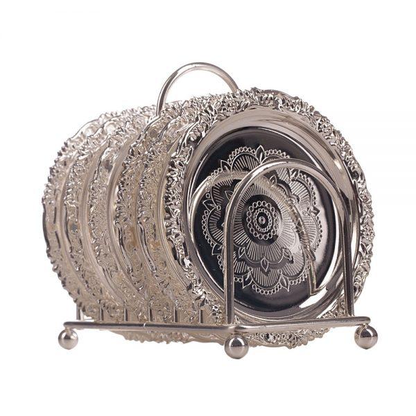 Set 6 suporturi pahare Silver Abigail argintate