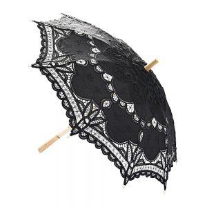 Umbrela dantela neagra Princess maner lemn
