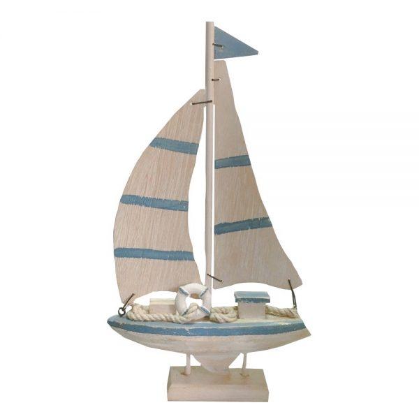 Barca decorativa cu panze Cristofor lemn