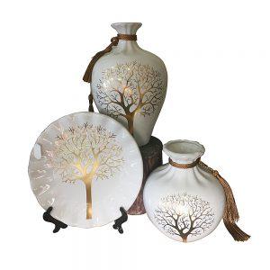 Set vaze & farfurie Geraldine alb ceramica
