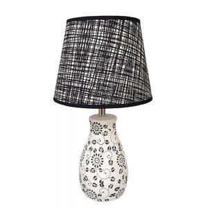 Veioza alb-negru Theresa ceramica lampa retro