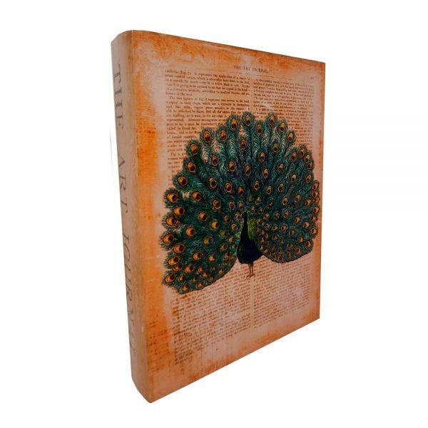 Cutie tip carte Peacock lemn 22x6x31cm, Vintage