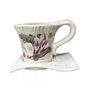 Ghiveci ceramica vintage Evelyne cu farfurie