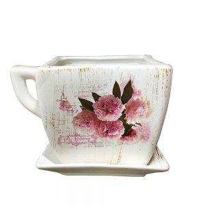 Ghiveci ceramica vintage Josephine cu farfurie