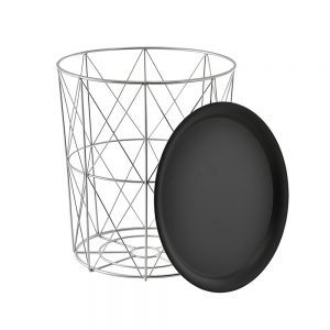 Masuta cafea Francois alb/negru 45cm metal