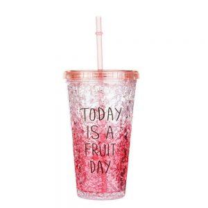 Pahar cu pai Cool Summer rosu gel racire congelator