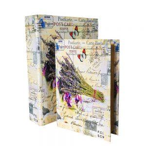 Set 2 cutii tip carte Provence lemn