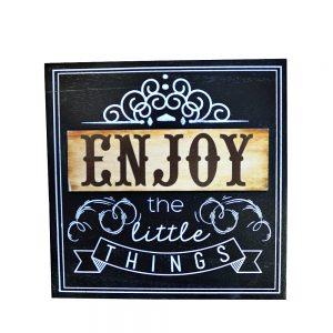 Tablou text Enjoy Life 20x20cm lemn
