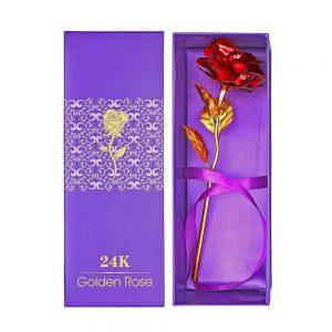 Trandafir rosu Rosalie placat cu aur