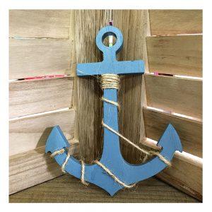 Ancora lemn decorativa Lucky albastra