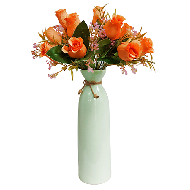 Buchet trandafiri artificiali portocalii Monique