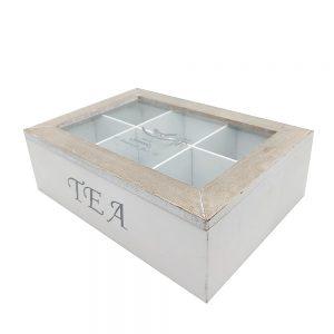Cutie lemn Tea Time 24x17x7cm vintage