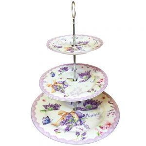 Etajera prajituri aperitive Lavender 3 platouri