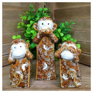 Figurine Three Wise Monkeys ceramica