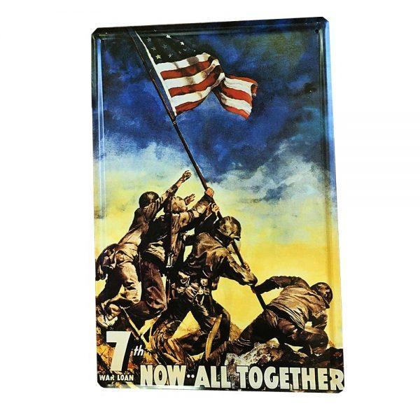 Placa metalica American Flag poster vintage