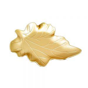 Platou frunza lemn Nature auriu 24.5x33cm