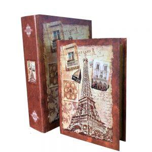 Set 2 cutii tip carte Paris lemn