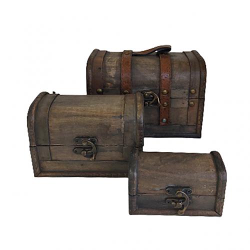 Set 3 cufere Antique lemn vintage