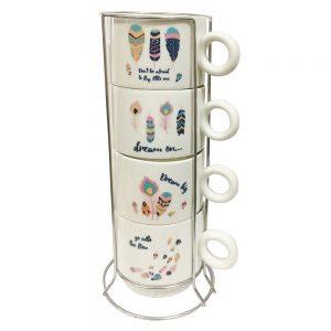Set 4 cesti cafea Dream 200ml, ceramica, suport inox