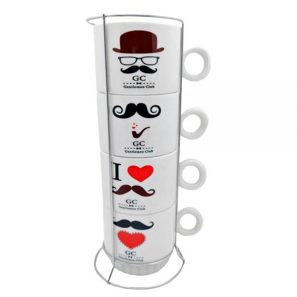 Set 4 cesti cafea Gentleman ceramica 200ml, Suport inox