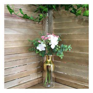 Buchet flori artificiale alb-roz Delicate 30cm